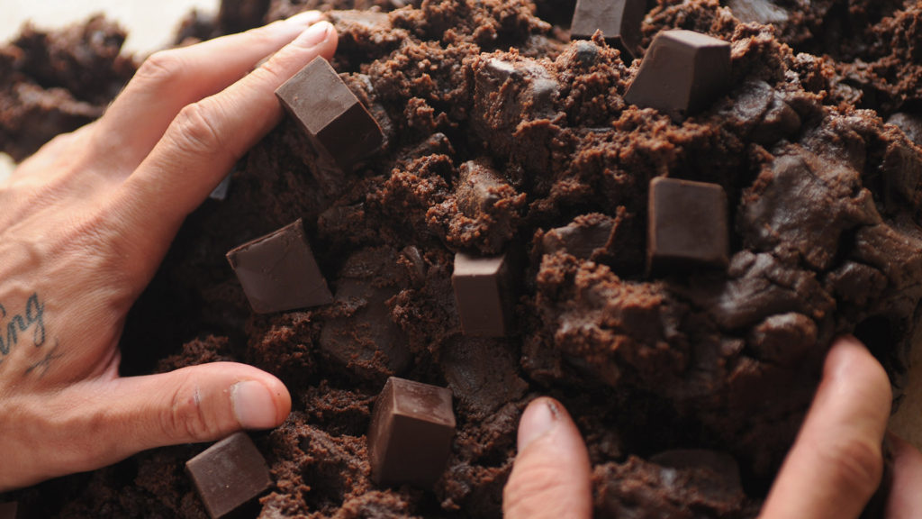 Cookie dough with large pieces of chocolate